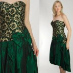 Emerald Green And Gold Lace Party Dress