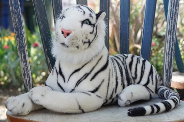 Vintage Plush Large White Tiger Stuffed Animal