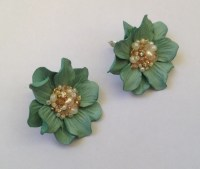 Mint leather flower earrings Flower earrings by