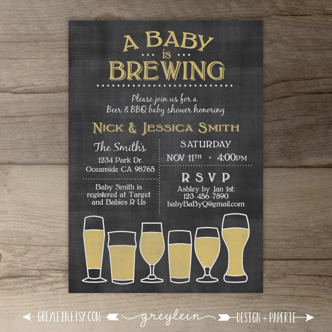 Baby Is Brewing Babyq Baby Shower Invitation Guy Friendly
