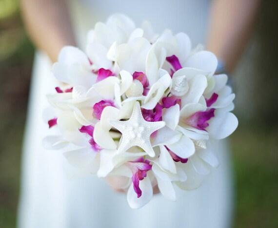 Brautstrauss Seide Fuchsia Orchideen und Muscheln Seestern