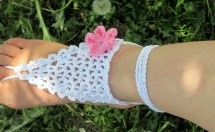 White Crochet Barefoot Sandals Foot Jewelry Nude Shoes