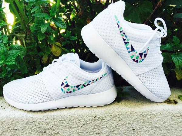 Womens Custom Nike Roshe Run Sneakers Triangles Purple