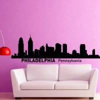Philadelphia Skyline Wall Decal Vinyl Sticker by FabWallDecals