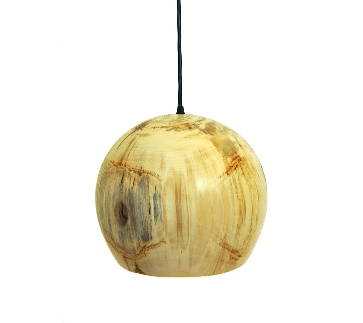Birch Wood Pendant Light: Globe Series