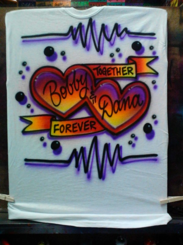 Airbrush Couples Heart T Shirt Personalized