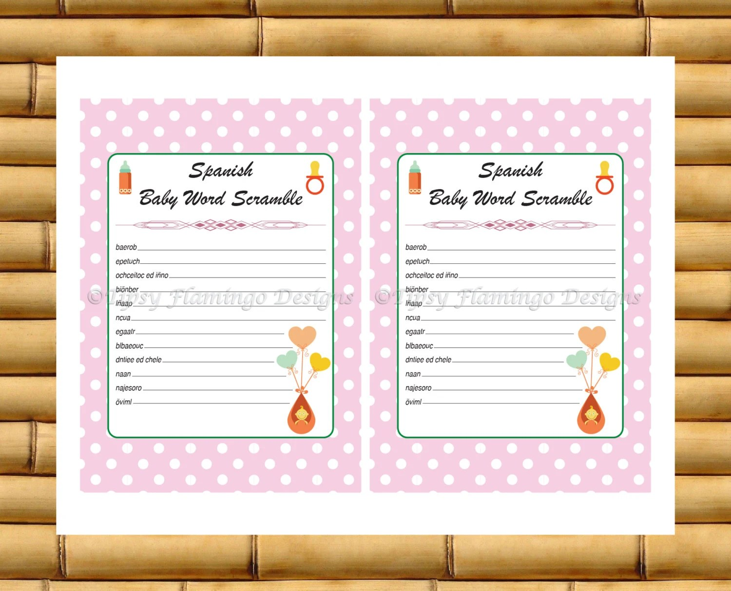 Unique Baby Shower Spanish Word Scramble Printable Baby