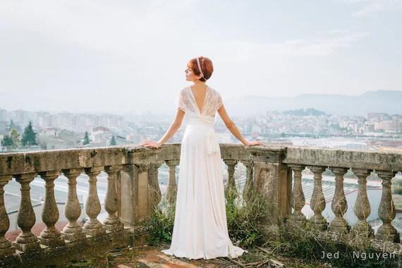 Romantic Wedding Dress Ivory Lace Dress Bridal Gown By Mimetik