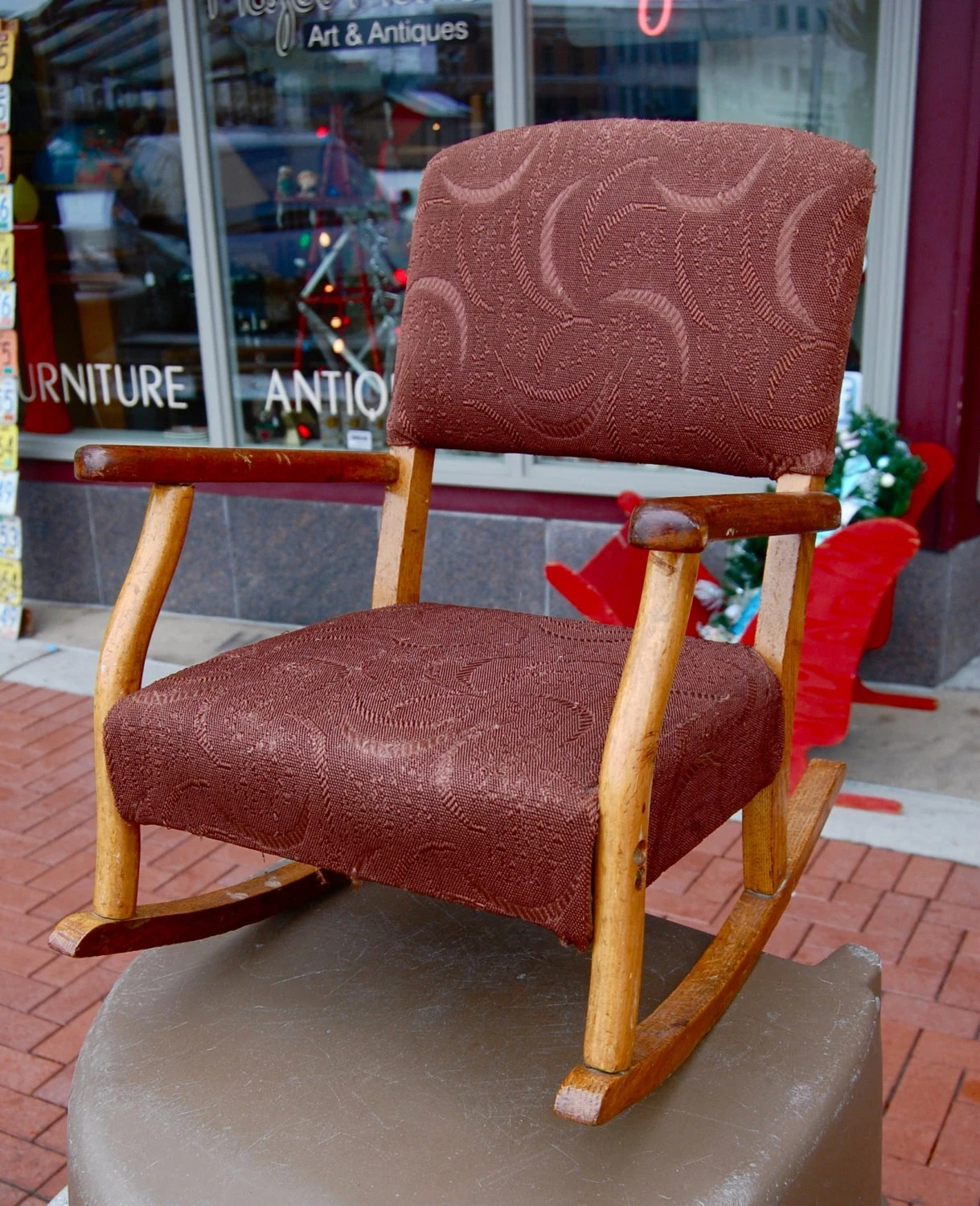 kids upholstered rocking chair faux fur butterfly vintage childs great