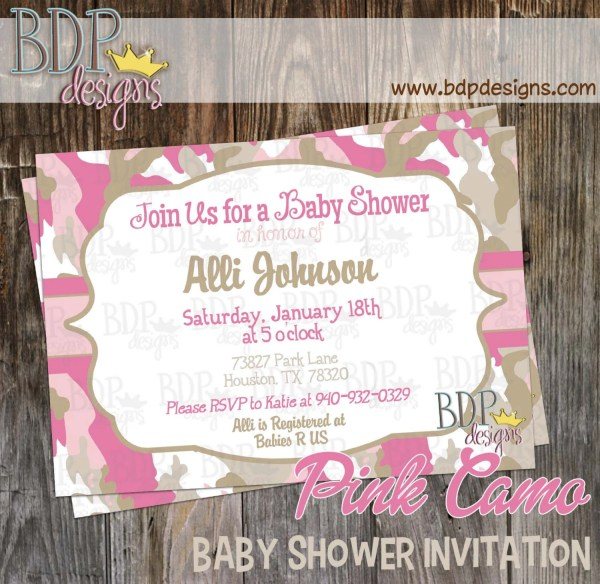 Pink Camo Baby Shower Invitation Customized Digital