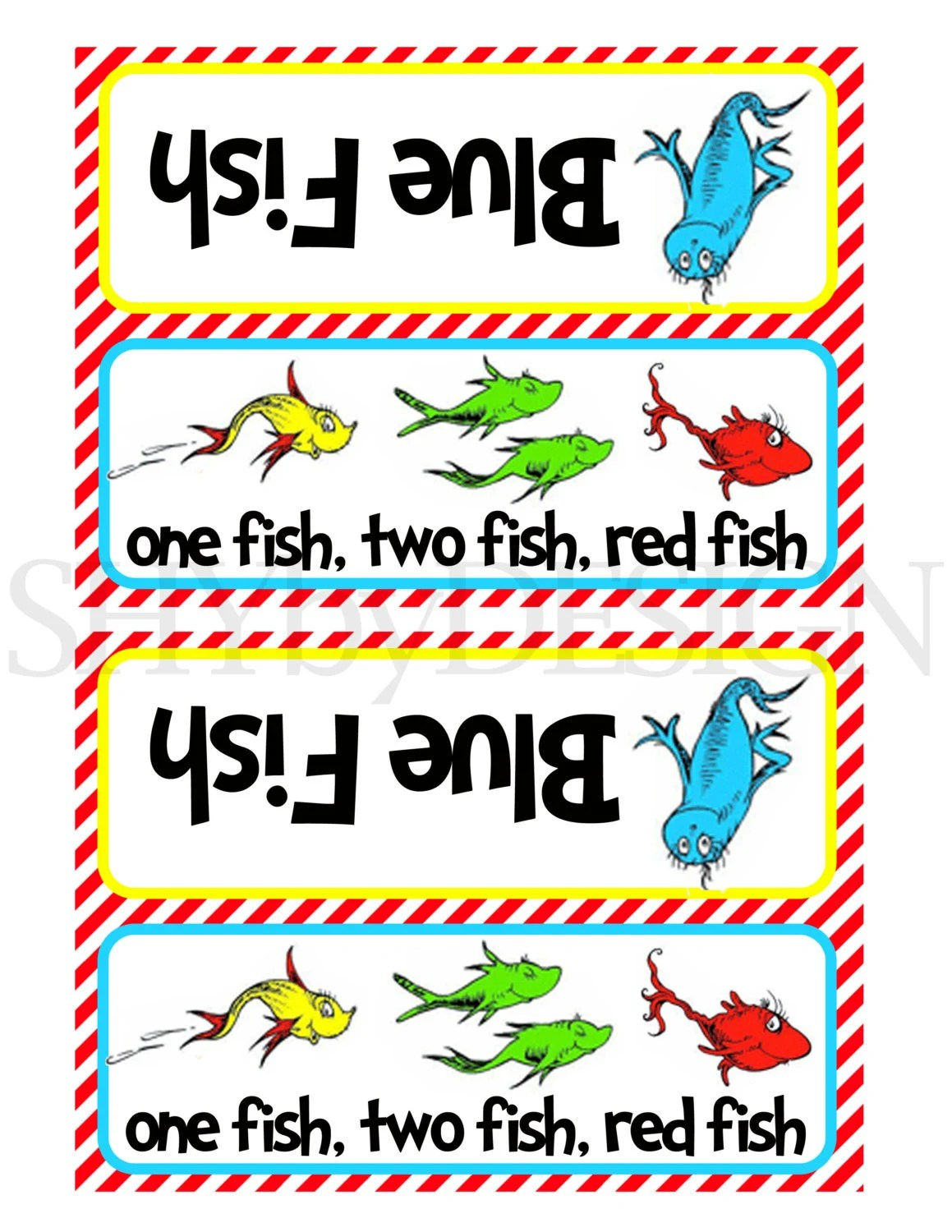 Printable One Fish Two Fish Baggie Toppers By Shydesign On Etsy