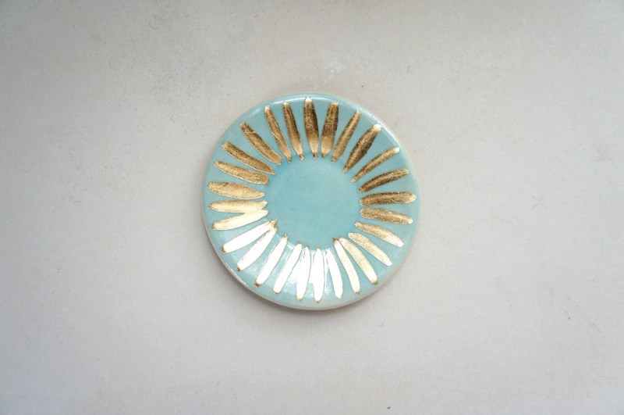 ring dish - light blue with golden sunburst