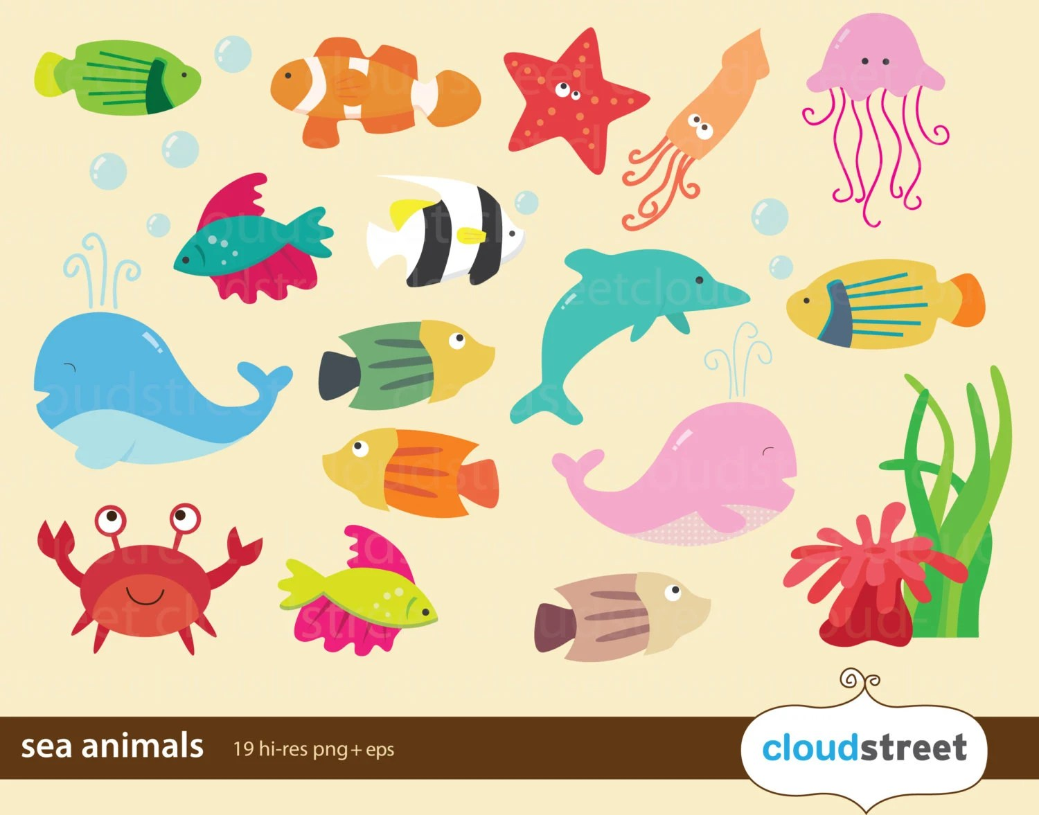 Sea Animal Clip Art For Personal And Commercial Use Ocean