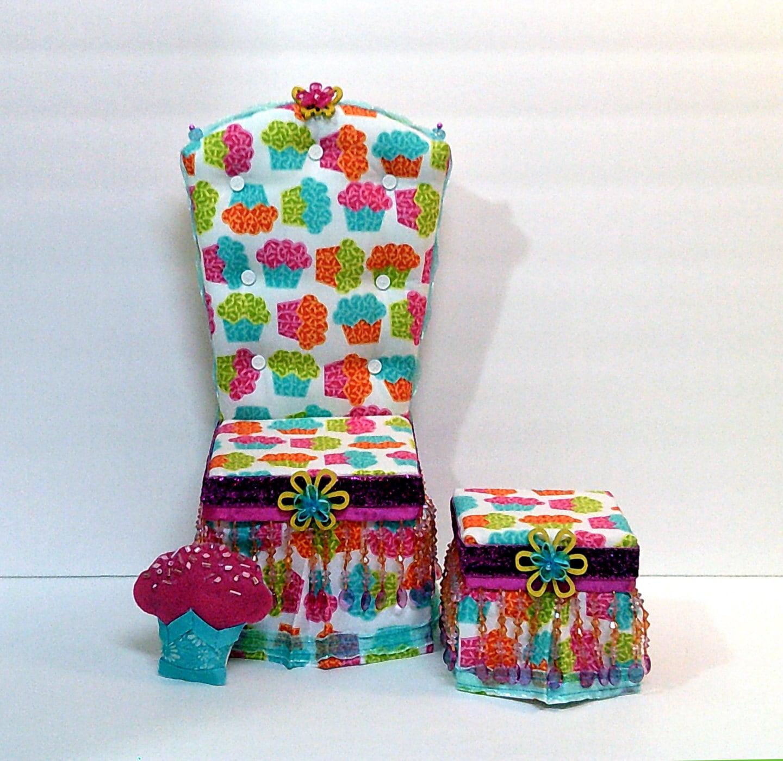 monster high bean bag chair with stool karachi sale ooak cupcake 18 doll and ottoman set