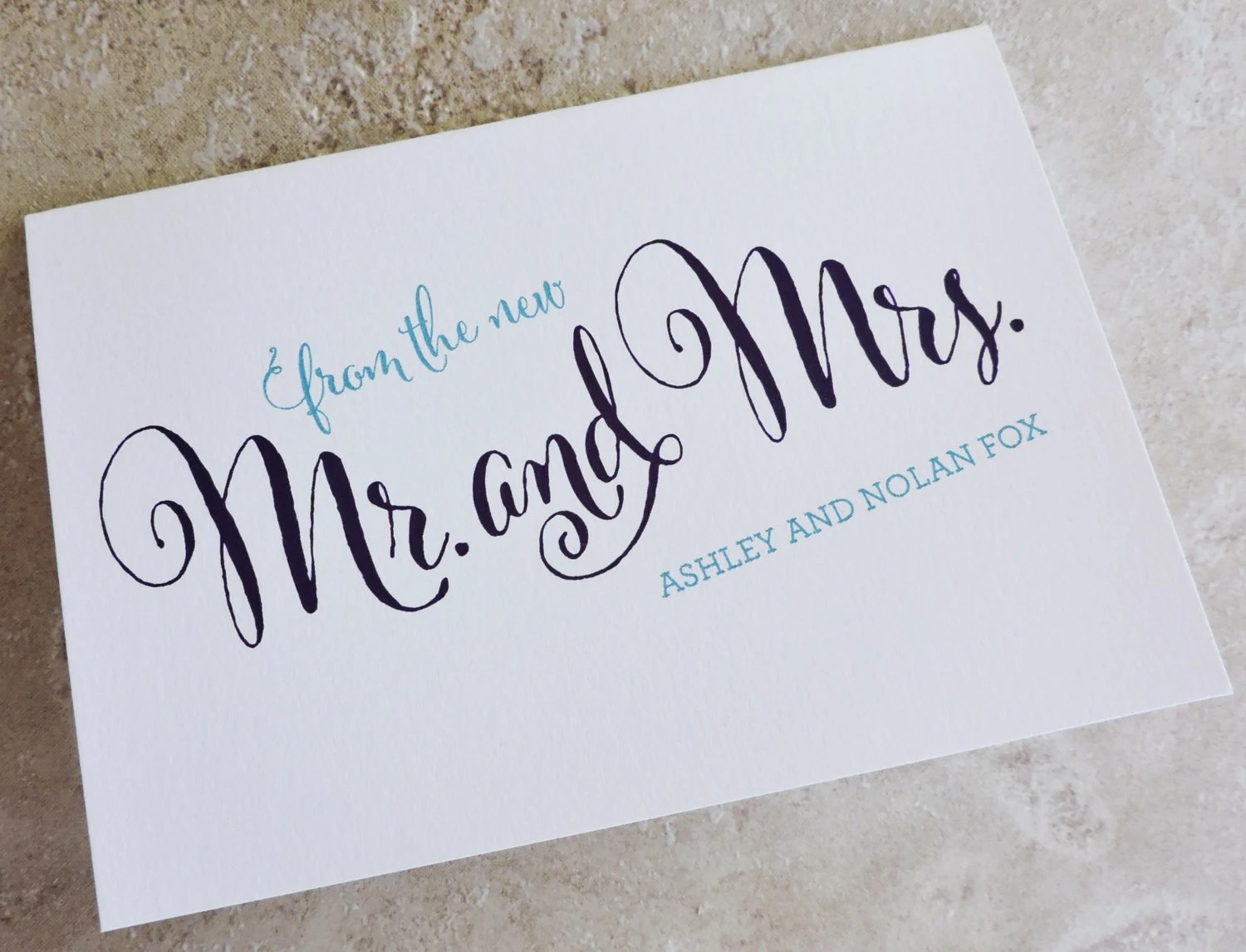 40 Wedding Thank You From The New Mr Mrs Personalized Brush Script Thank  You Note Card