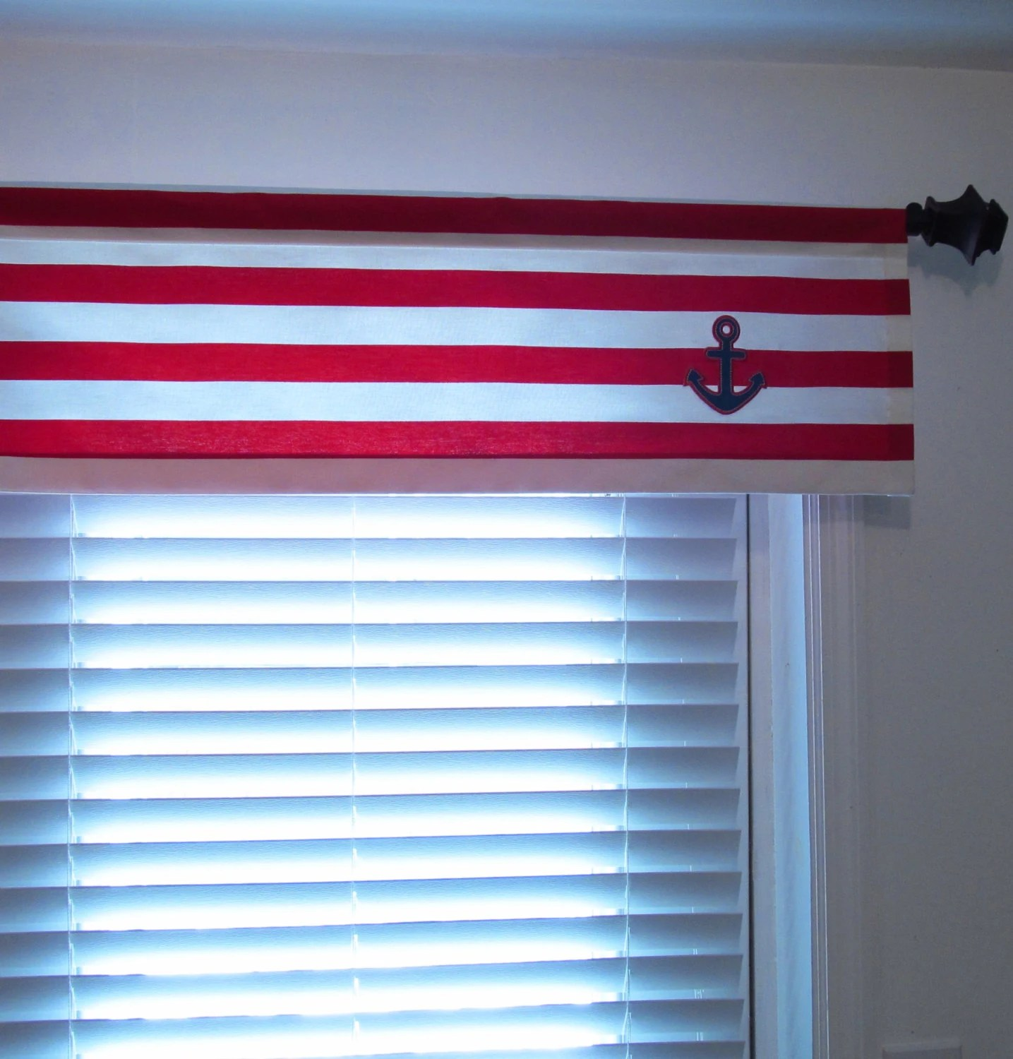 Nautical Window Valance Red White Blue Anchor Curtain Kids