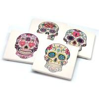 Set Of 4 Stone Drink Coasters With Sugar Skulls Day Of The ...