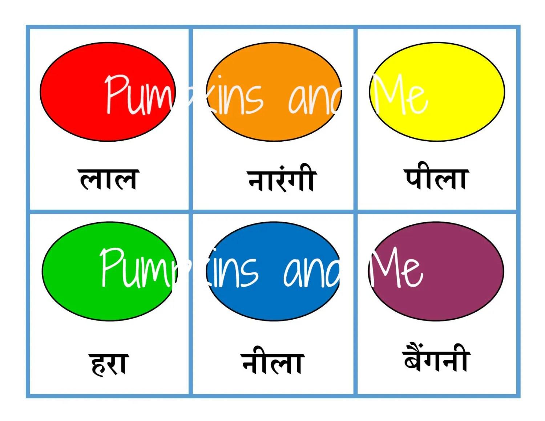 Hindi Color Sorting Cards Montessori Materials