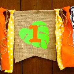 Safari High Chair Patio Leg Caps Jungle Birthday Banner Highchair By
