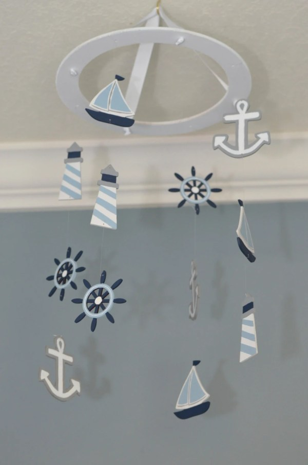 Nautical Nursery Mobile Sailboat Anchor Lighthouse Wheel