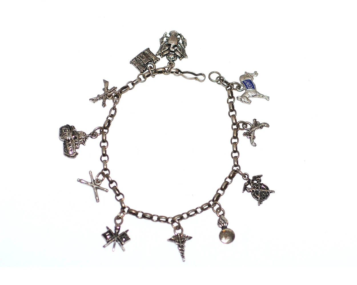 Wwii Sweetheart Sterling Silver 11 Charm Bracelet By Whatisthing