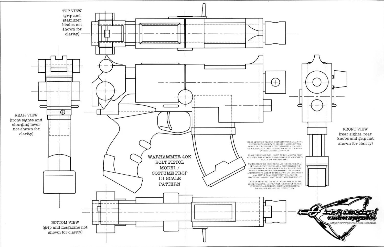 Warhammer 40K Bolt Pistol Blueprint / Cosplay Prop Pattern