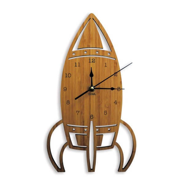 Rocket Wooden Wall Clock Space Laser cut by NestAccessories