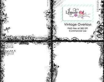 Vintage digital floral overlays for commercial use PNG