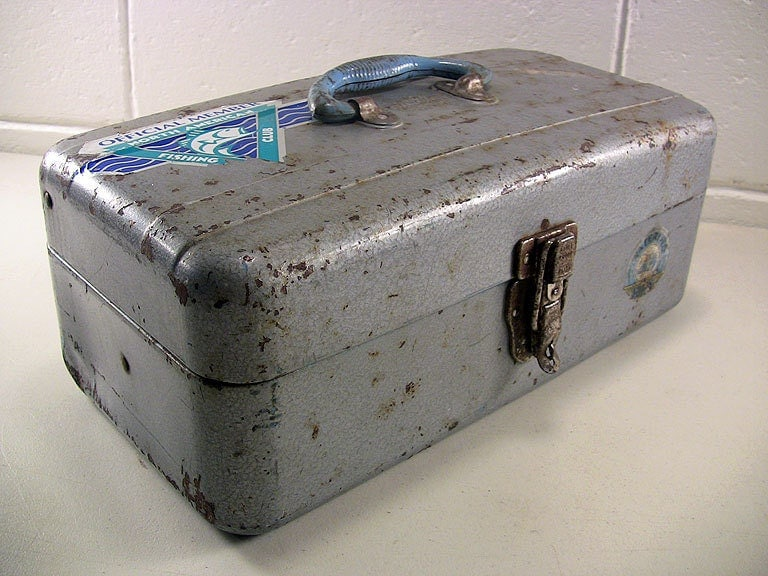 Vintage Union Steel Chest Usa Watertite Fishing Tackle