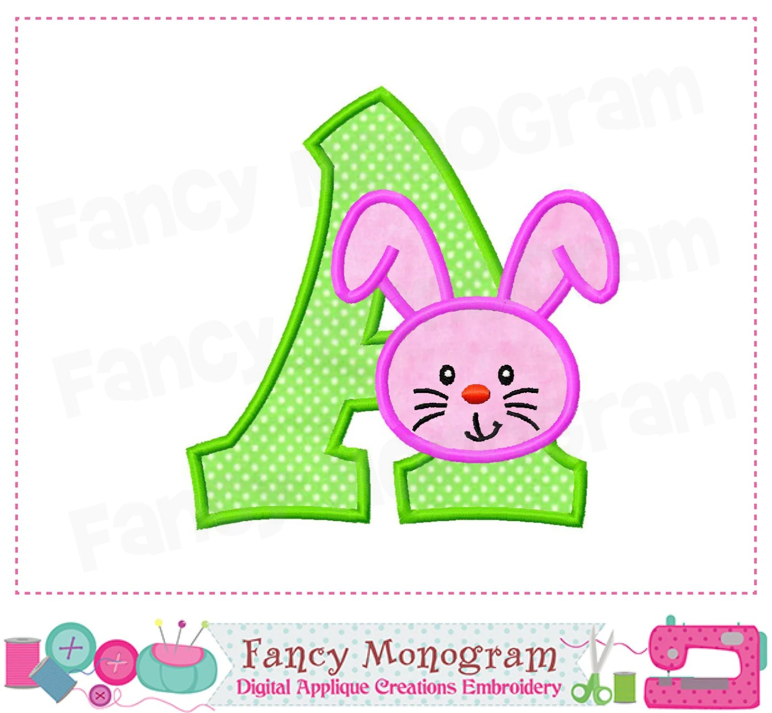 Easter Bunny Monogram A Appliqueeaster Bunny Letter A