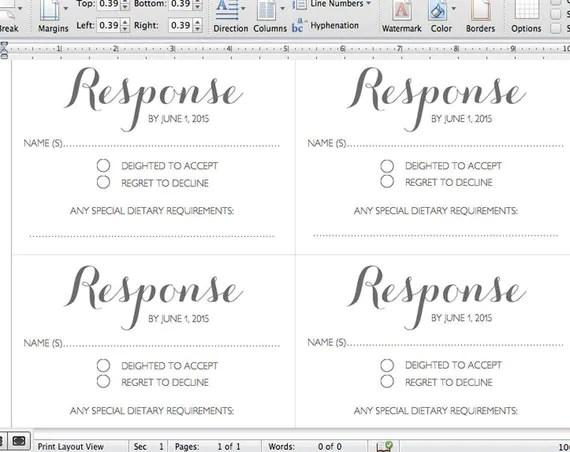 Printable Wedding RSVP Template RSVP card Byron by