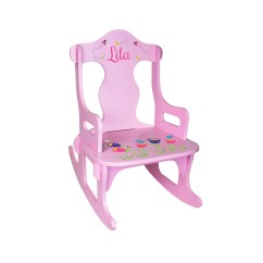 Personalized Rocking Chair For Toddlers Wooden Frame Beach Chairs Kids Custom Pink By Wizkickgifts