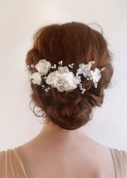 bridal hair accessory white flower