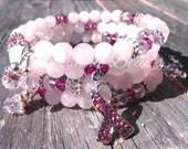 Breast Cancer Awareness Bracelet - Breast Cancer, Rose Quartz Bracelet, Pink Bracelet, Breast Cancer Bracelet, Awareness Bracelet, Bracelet