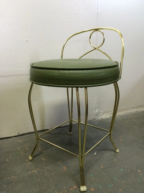 Mid Century Modern Vintage Vanity Chair Stool With Green