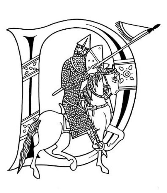 Celtic letters Alphabet Medieval download digital A4 paper ABC