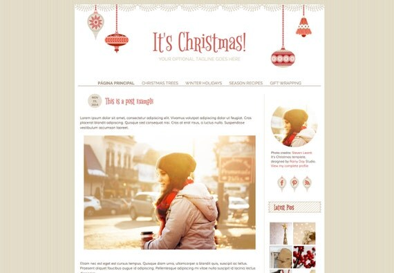 Blogger template. Christmas Responsive blog design. Premade Xmas theme, red and beige palette. Season, holidays, winter, craft, ornaments