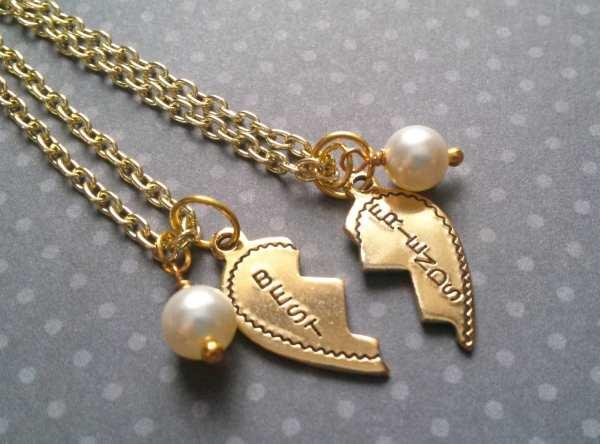 Friends Broken Heart Necklaces Set Of 2 Gold