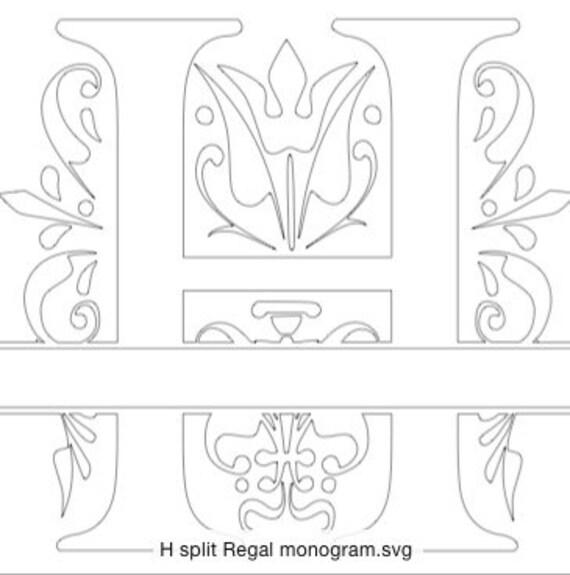 Split Regal Monogram letter H only in SVG format by