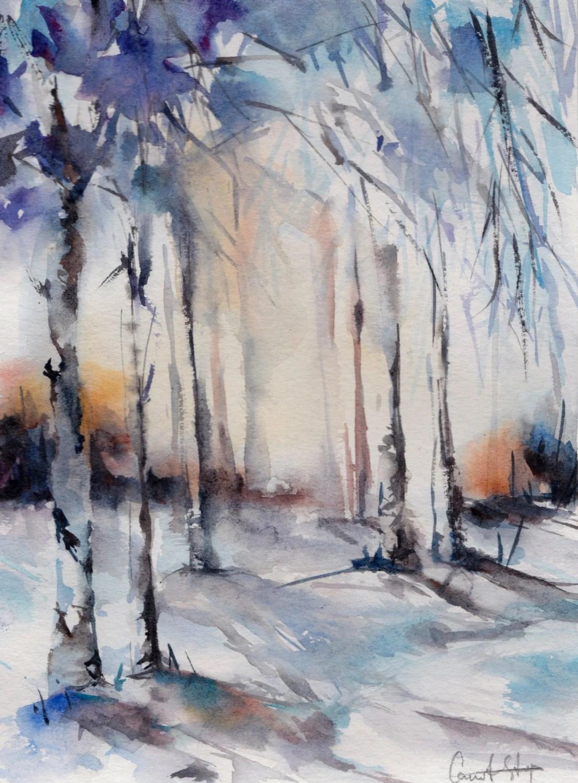 Acquarello originale paesaggio invernale foresta di CanotStop