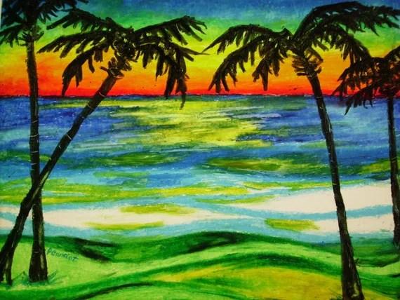 palms sunset 14x17 beach landscape