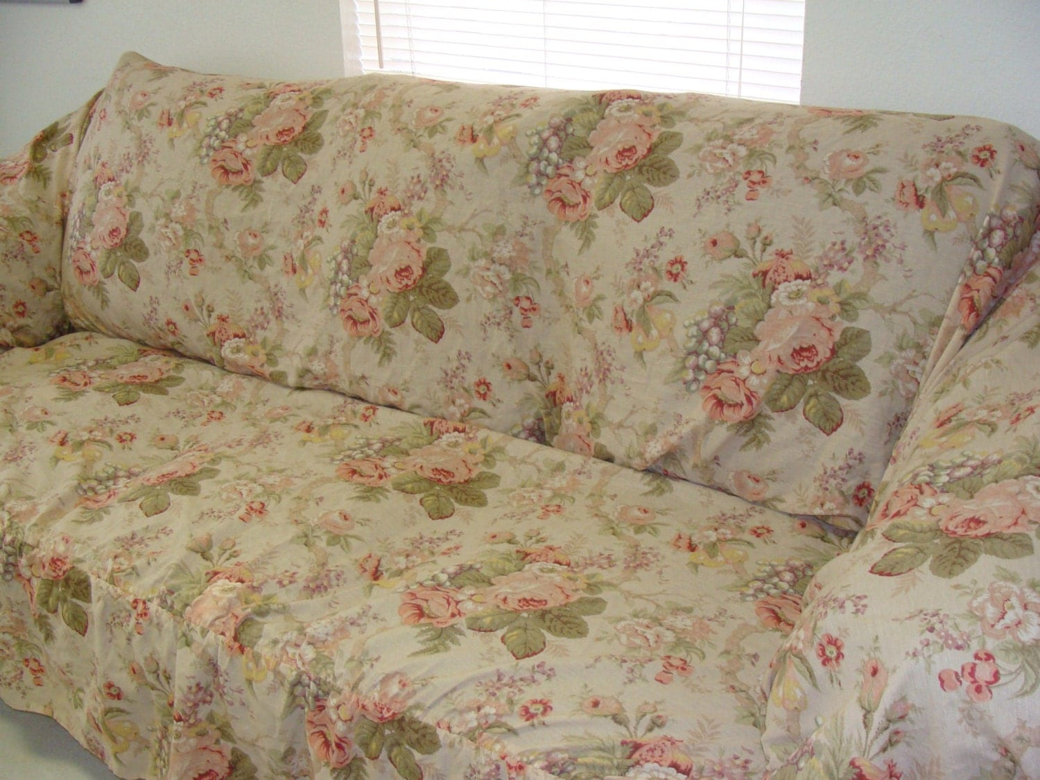 rose sofa slipcover bed ideas shabby chic cover with pink cabbage roses
