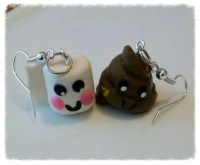 Poo and toilet roll paper earrings polymer clay by ...