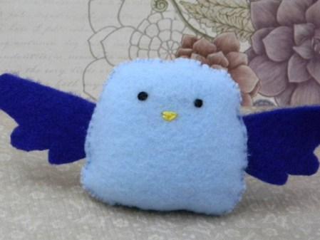 Hand-sewn Stuffed Blue Bird: Felt Mini Plush