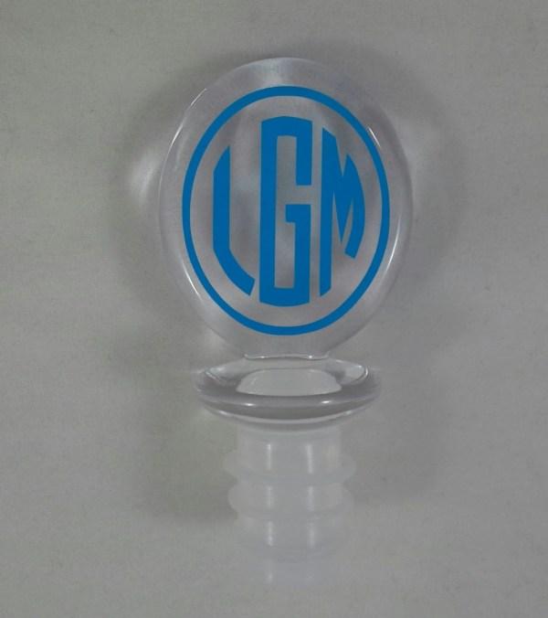 Monogrammed Wine Stopper Personalized Acrylic Bottle