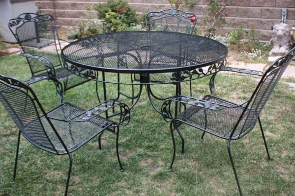 wrought iron patio furniture Vintage Wrought Iron Patio set Table & 4 armchairs by