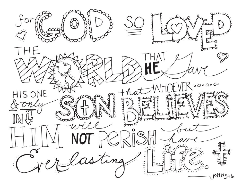 Bible Verse Coloring Page John 3:16 Printable by