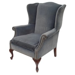 Nailhead Wingback Chair Office Exercises For Abs Blue Velvet Wing With Brass Trim And Scalloped