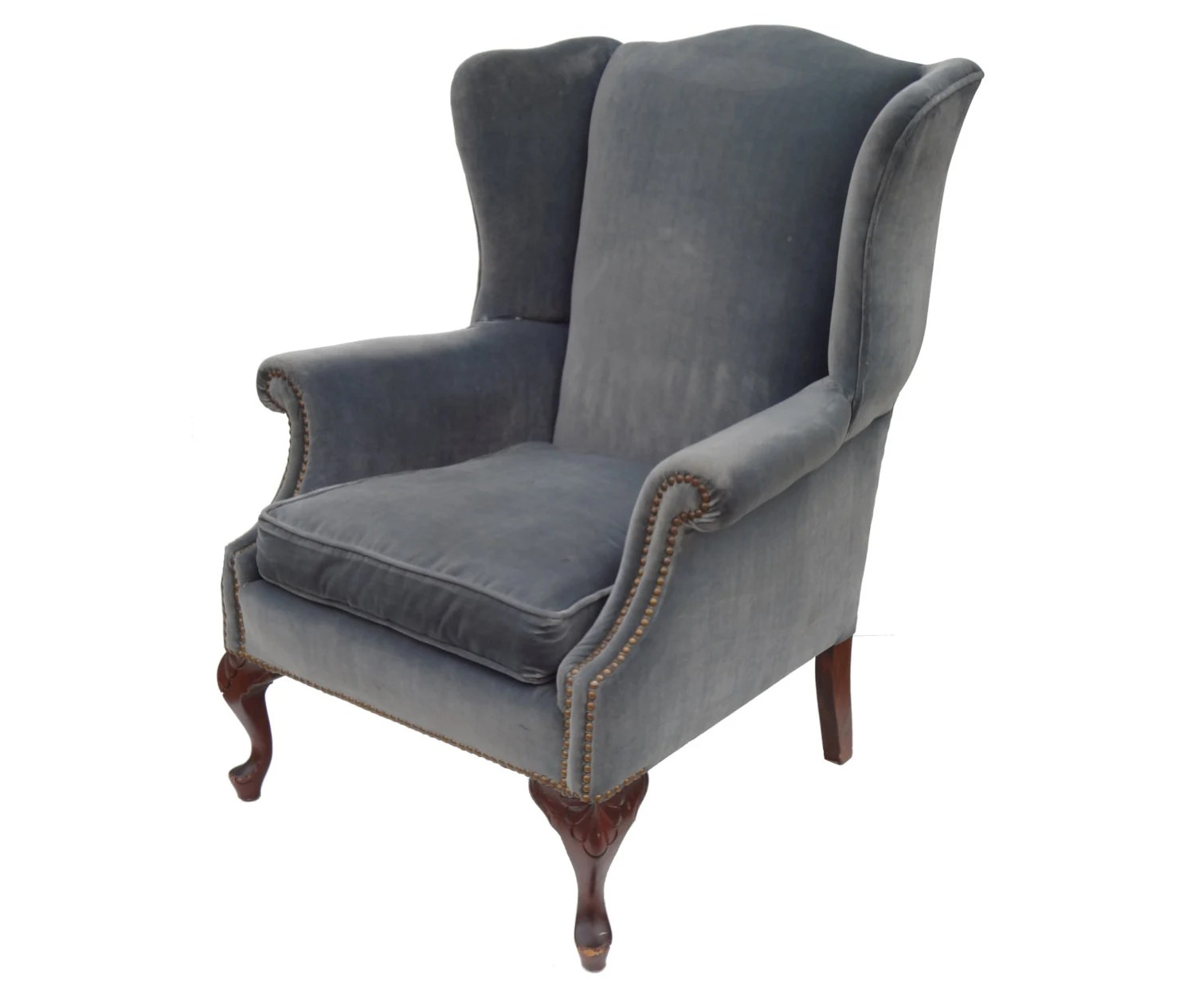 Blue Velvet Wingback Chair Blue Velvet Wing Chair With Brass Nailhead Trim And Scalloped