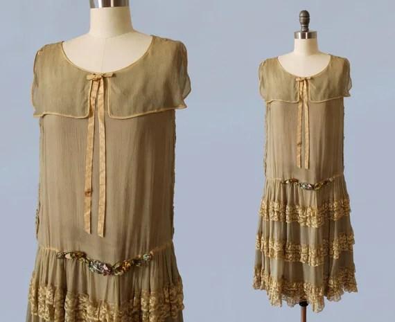 1920s Dress / 20s Ecru Tea Colored Wedding Flapper Dress